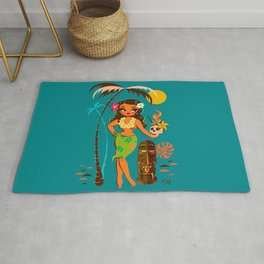 Tiki Temptress • With Skull Mug Cocktail Rug