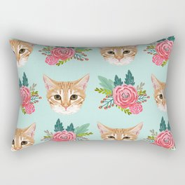 Tabby cat florals flowers must have cat themed gifts pet portrait cat lady mint pastel cat art fur Rectangular Pillow