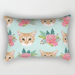 Tabby cat florals flowers must have cat themed gifts pet portrait cat lady mint pastel cat art fur Rectangular Pillow
