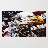 patriotic Area & Throw Rugs featuring PATRIOTIC TIMES by PERRY DAEZIOUH
