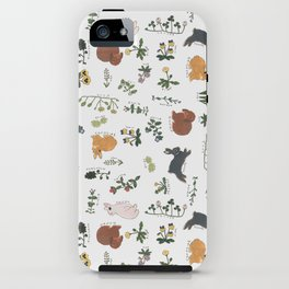Bunnies and spring flowers iPhone Case
