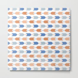 Southwestern Geometric Arrows in Stripes of Classic Blues and Muted Oranges Metal Print