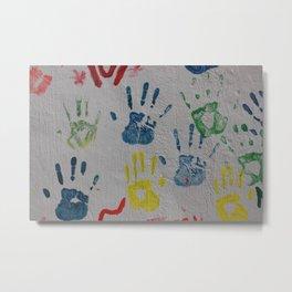 Hand Prints on a Wall Metal Print