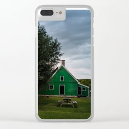 Green cottage at summer sunset Clear iPhone Case