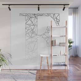 ''Geometry Collection'' - Minimal Letter F Print Wall Mural
