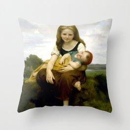 """William-Adolphe Bouguereau """"The Elder Sister"""" Throw Pillow"""
