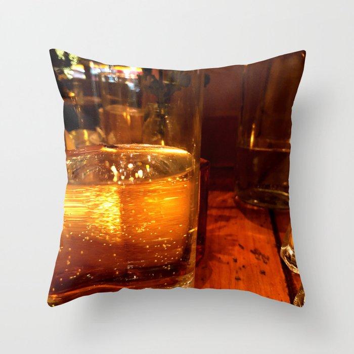 SPARKLING GOLDEN WATER Throw Pillow