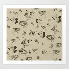 Lizards pattern (sepia) Art Print