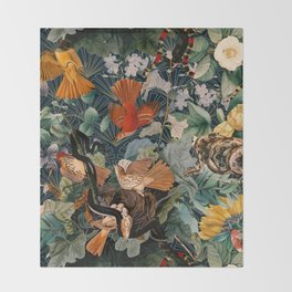 Birds and snakes Throw Blanket