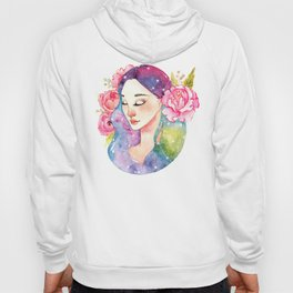 Unearthly supernatural girl with space in the hair. Virgo constellation. Hoody