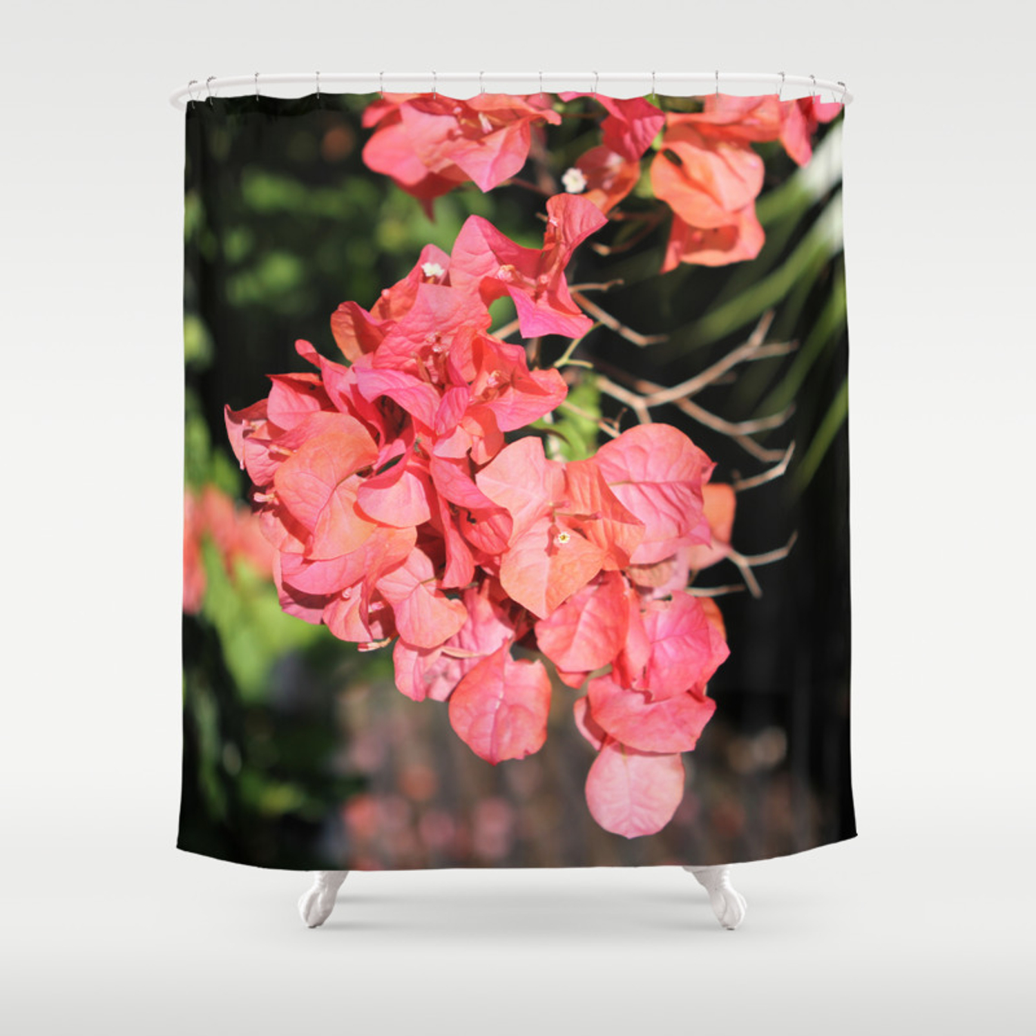 Hot Coral Floral Shower Curtain By Worldinhand Society6