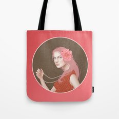 Girl Holding a Pearl Necklace Tote Bag