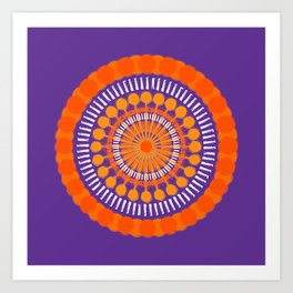 Rough Orange Mandala Art Print
