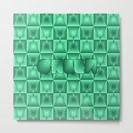 Mirror diamond pattern in shades of green Metal Print