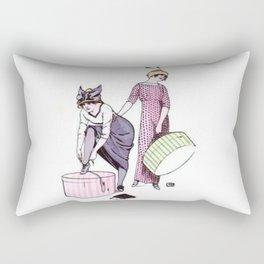 Vintage Flapper Ladies Fashion Pink and Purple Rectangular Pillow