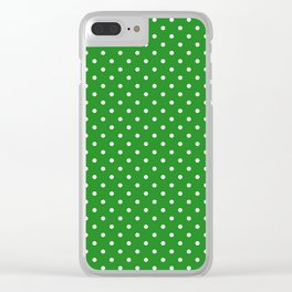 Dots (White/Forest Green) Clear iPhone Case