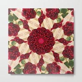 Old Red Rose Kaleidoscope 14 Metal Print