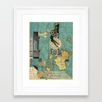 world maps Framed Art Prints featuring Maps by Ubik Designs
