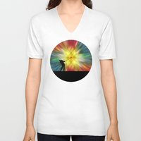 tie dye V-neck T-shirts featuring Tie Dye Silhouette Golfer by Phil Perkins