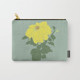 Yellow Dahlia Flower Illustrated Print Carry-All Pouch