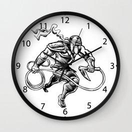 hand drawn Sketchy illustration of a ninja Wall Clock
