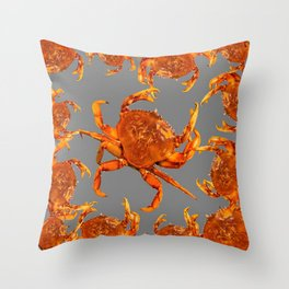 RED CRABS SOCIAL IN CHARCOAL GREY Throw Pillow