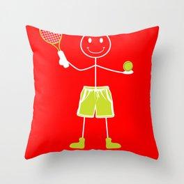 Tennis guy ball racket fun hobby joke gift Throw Pillow