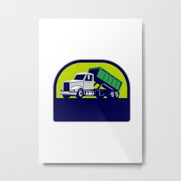 Roll-Off Truck Side Up Half Circle Retro Metal Print