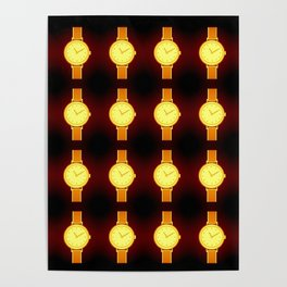 Luminous Wristwatches on Black Illustration Poster