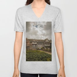 Cloudy Spring Day in an Old English Yard Unisex V-Neck