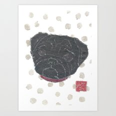 Black Pug, Dog Art Print
