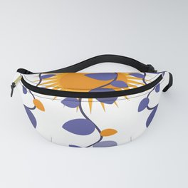 cute flowers and sun,Leaves, Doodle Fanny Pack