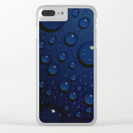Midnight Blue to Stars in Droplets Polka Dots Clear iPhone Case