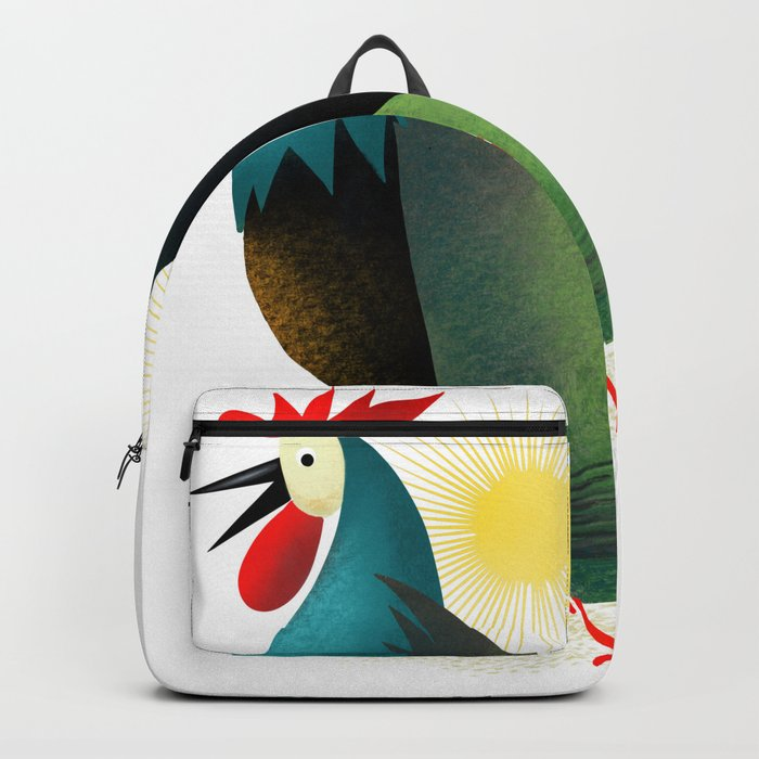 Morning Glory Rooster And Hen Wake Up Call Backpack