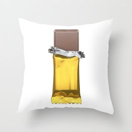 Chocolate candy bar in gold wrapper Throw Pillow