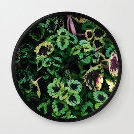 Green Leaf Flowers Wall Clock