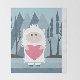 Little Yeti, Big Heart Throw Blanket