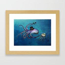 Underwater Love // octopus jellyfish Framed Art Print