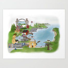 Louisbourg Illustrated in Color Art Print
