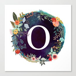 Personalized Monogram Initial Letter O Floral Wreath Artwork Canvas Print