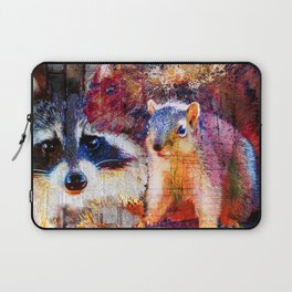 Squirrel And Raccoon Wildlife Art, Modern Nature Art Laptop Sleeve