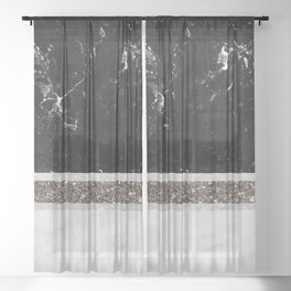 Black and White Marble Silver Glitter Stripe Glam #1 #minimal #decor #art #society6 Sheer Curtain