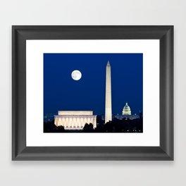 Harvest Moon rising over Washington DC Framed Art Print
