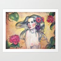 The girl with flowers Art Print