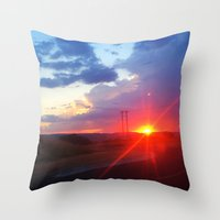 south africa Throw Pillows featuring Sunset in South Africa by Rebekah Cano