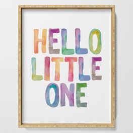Hello Little One - watercolor rainbow typography Serving Tray