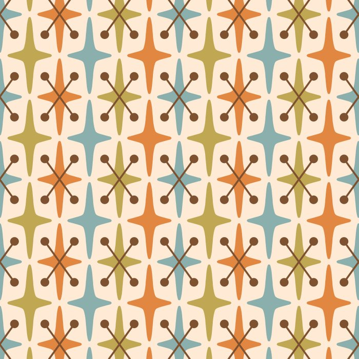 Mid Century Modern Abstract Star Pattern 441 Orange Brown Blue Olive Green Comforters