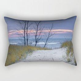 Sunset Photograph of Trees and Dune with Beach Grass at Holland Michigan Rectangular Pillow