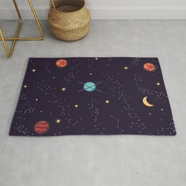 Universe with planets and stars seamless pattern, cosmos starry night sky 002 Rug