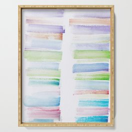 27  | 181101 Watercolour Palette Abstract Art | Lines | Stripes | Serving Tray